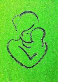 Een lijn tekening van een moeder met een baby tegen een groene achtergrond.