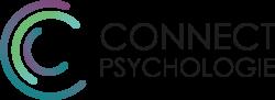 Het logo van Connect Psychologie, een hoofdletter C in de kleuren paars, blauwgroen en zeegroen, met daarnaast in hoofdletters geschreven Connect Psychologie.